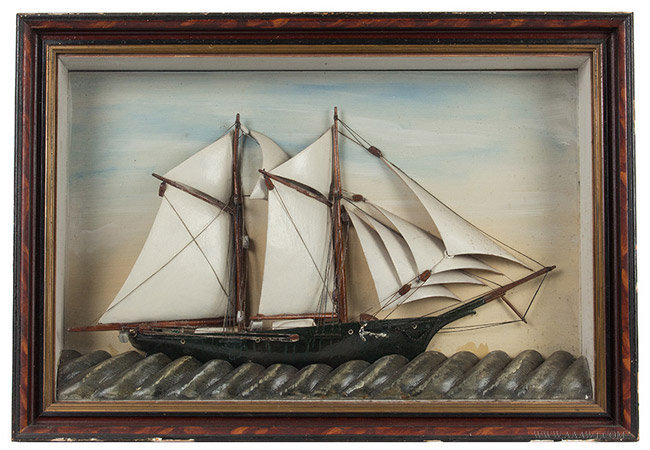 Antique Nautical Diorama, Sailing Ship in Shadowbox Frame, Late 19th Century, entire view