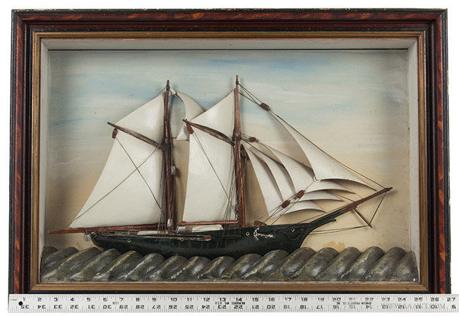 Antique Nautical Diorama, Sailing Ship in Shadowbox Frame, Late 19th Century, with ruler for scale
