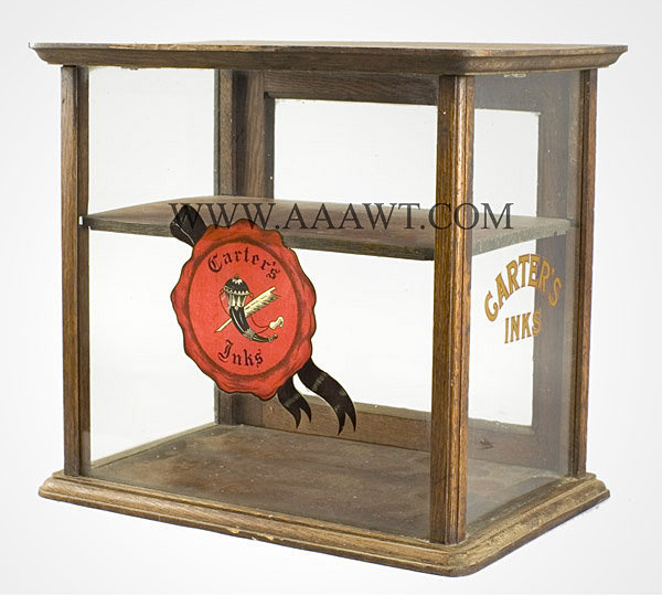 Carter's Inks Retail Display Show Case, Countertop, Oak Vintage, probably turn of 20th century, entire view