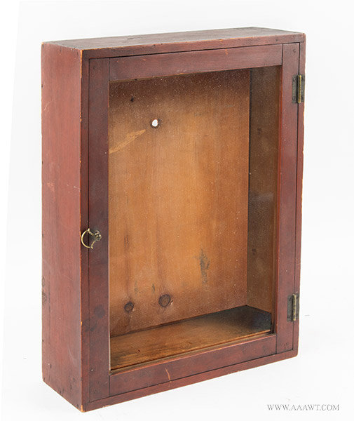 Antique Display Case/Cabinet in Original Red Paint, 19th Century, angle view