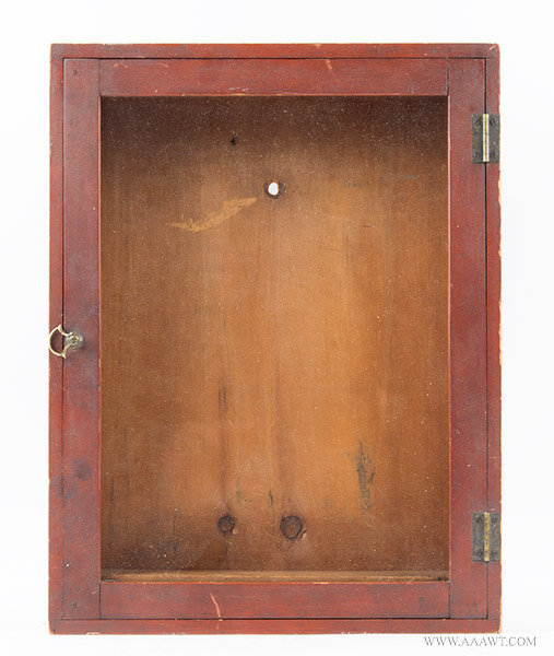 Antique Display Case/Cabinet in Original Red Paint, 19th Century, entire view