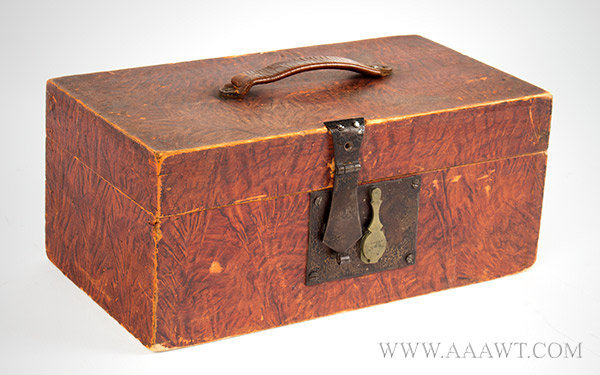 Document Box, Original Paint Decoration, Leather Handle New England, 19th Century, entire view