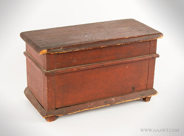 Document Box, Mini Chest, Original Red Paint  American, Circa 1780 to 1820ish, entire view