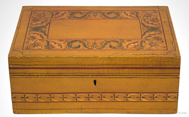Antique Paint Decorated Document Box, Likely New England, 19th Century, entire view