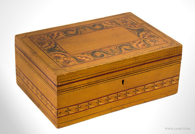 Antique Paint Decorated Document Box, Likely New England, 19th Century, angle view