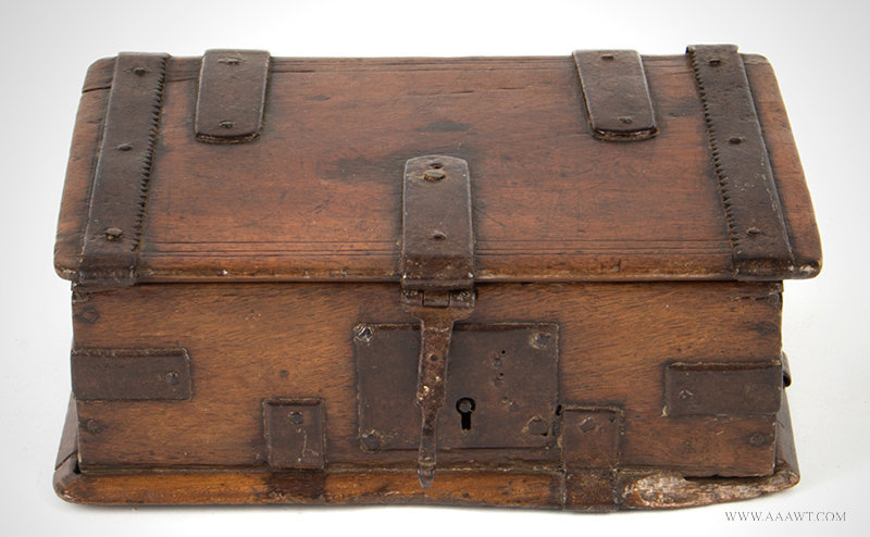 Antique Iron Bound Valuables and Documents Box, 18th Century, entire view