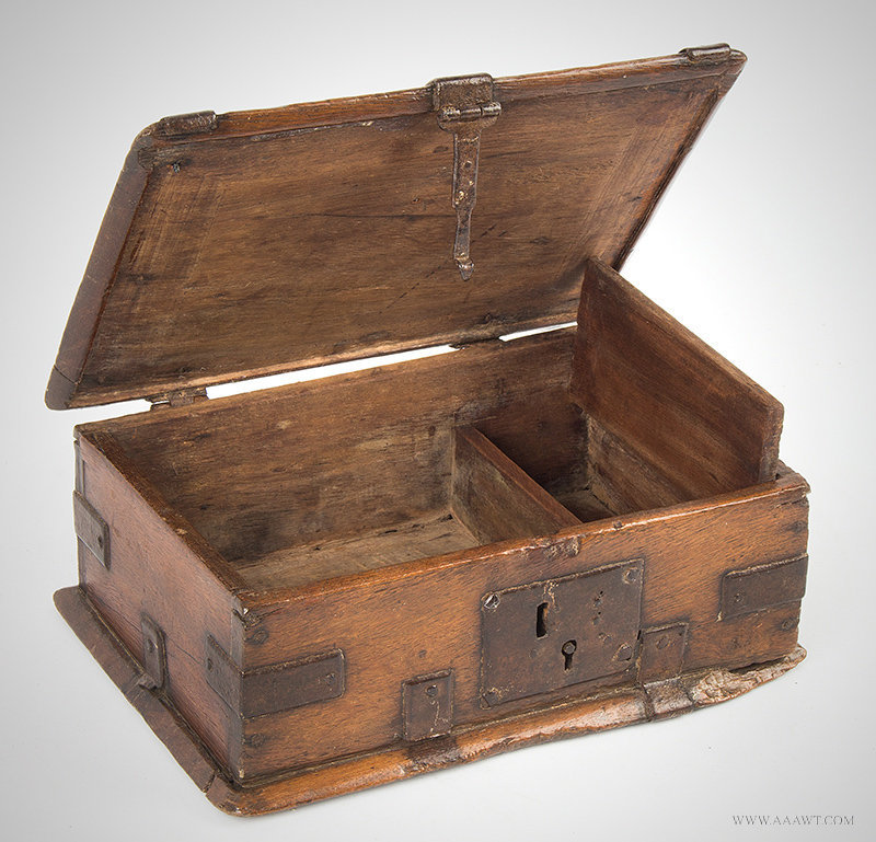 Antique Iron Bound Valuables and Documents Box, 18th Century, open view