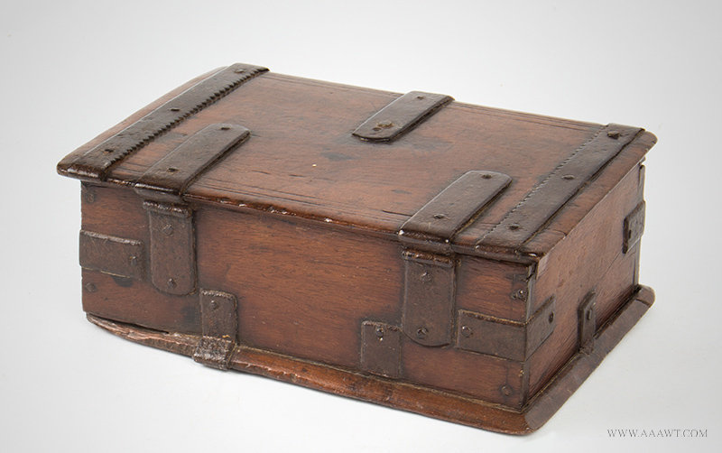 Antique Iron Bound Valuables and Documents Box, 18th Century, rear angle view