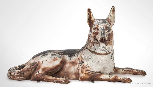 Vintage Reclining Zinc Shepherd Dog Trade Stimulator, entire view