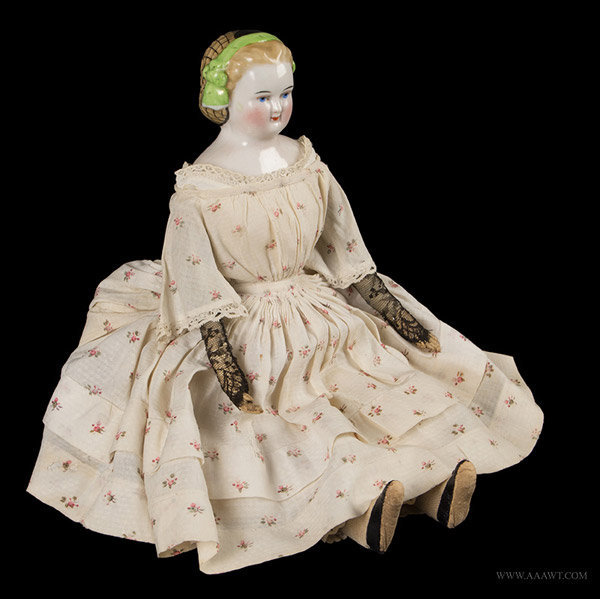 Blonde China Head Doll with Molded Hairdo, Unknown Maker, 1960's, angle view