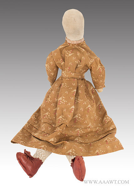 Antique Doll, Cloth Doll, Stuffed Body, Circa 1870 to 1890, entire view