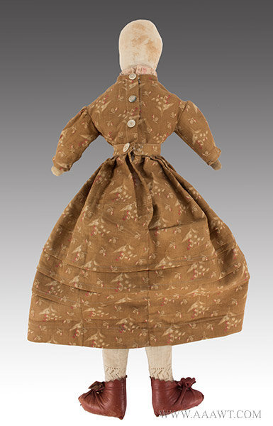 Antique Doll, Cloth Doll, Stuffed Body, Circa 1870 to 1890, rear view