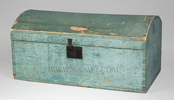 Dome Top Trunk, Original Blue Paint New England Circa 1820, entire view
