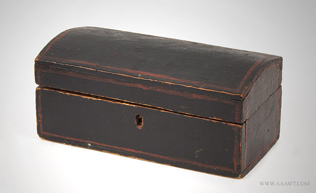 Antique Miniature Dometop Trunk in Original Paint, 19th Century, angle view
