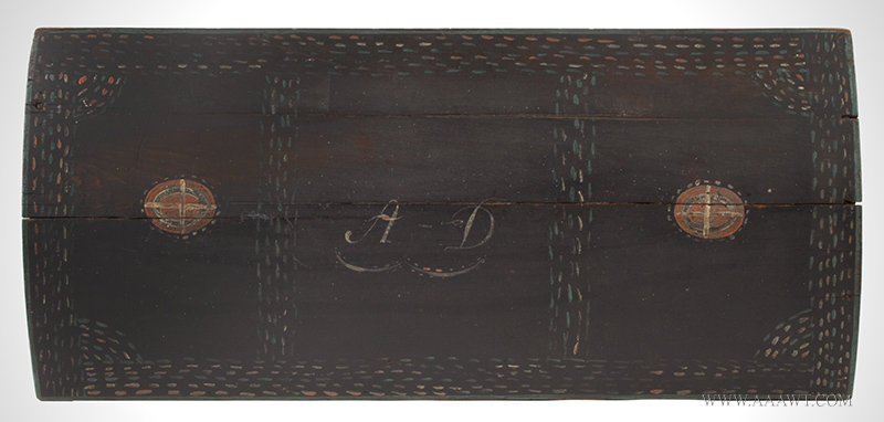Antique Dome Top Trunk with Original Paint and Unusual Decoration, Early 19th Century, top detail