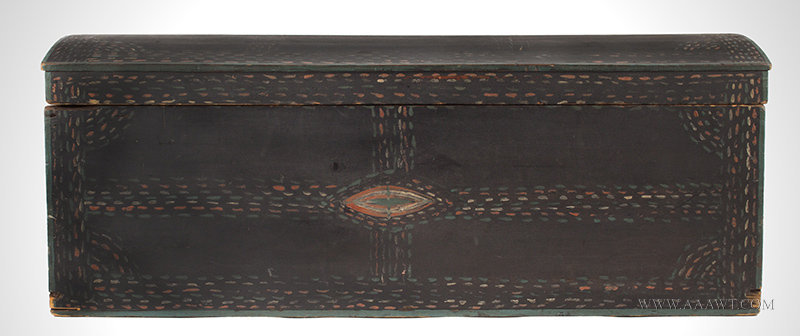 Antique Dome Top Trunk with Original Paint and Unusual Decoration, Early 19th Century, entire view