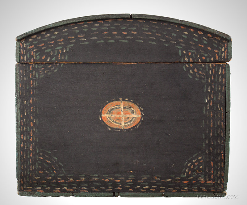 Antique Dome Top Trunk with Original Paint and Unusual Decoration, Early 19th Century, side detail