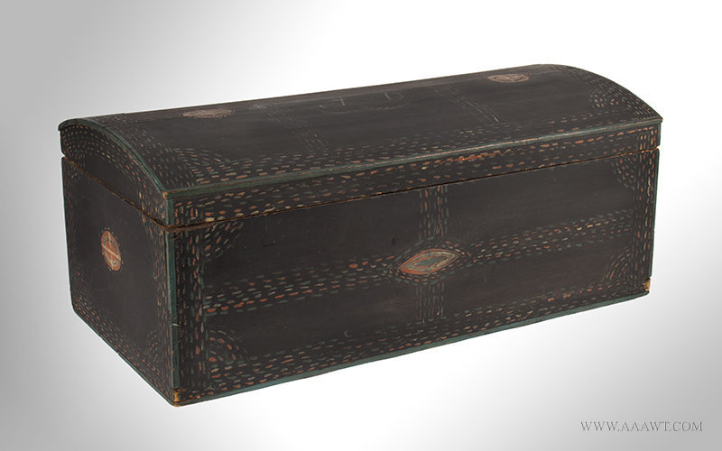 Antique Dome Top Trunk with Original Paint and Unusual Decoration, Early 19th Century, angle view