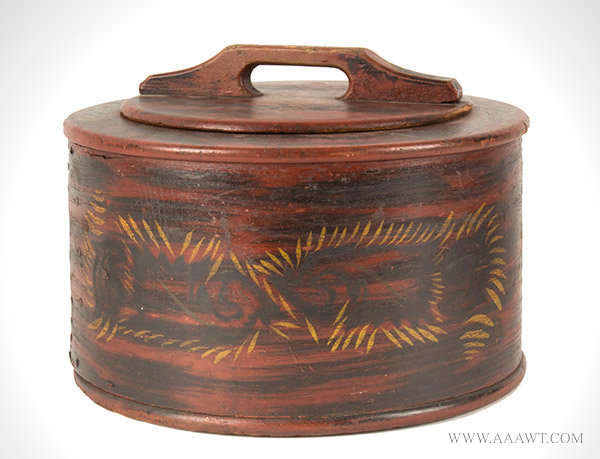 Cake Box, Bentwood Donut Box, Original Paint and Decoration Pennsylvania, Circa 1840 to 1860, entire view