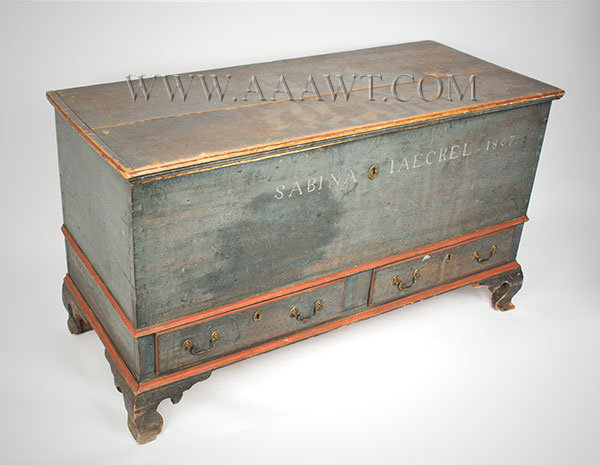 Schwenkfelder Dower Chest, Original Paint, Outstanding Ogee Feet Sabina Iaeckel 1807, entire view