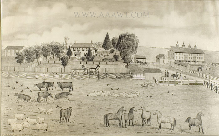 Antique Pencil Drawing, Farm Scene, By E.L. Orr, no frame view