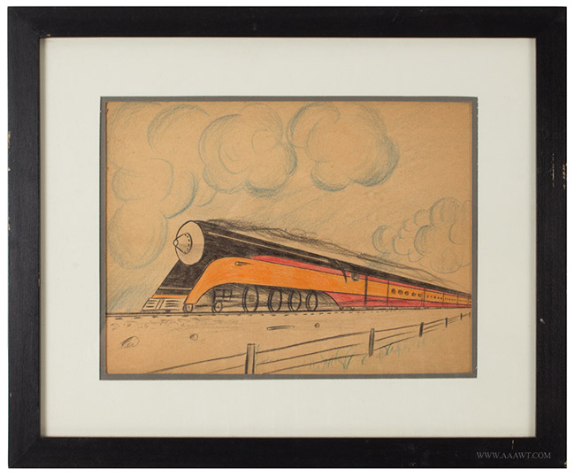 Vintage Pencil and Crayon Drawings of Trains, Deco Locomotives and Rail Cars, One Signed D.S. Littlell, entire view 1
