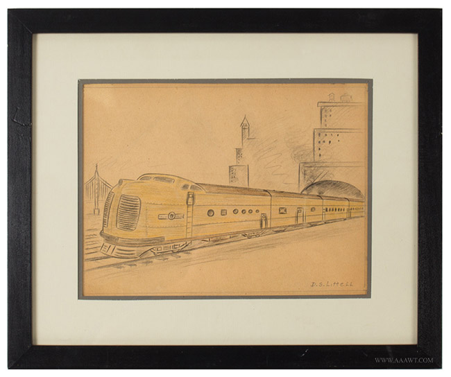 Vintage Pencil and Crayon Drawings of Trains, Deco Locomotives and Rail Cars, One Signed D.S. Littlell, entire view 2