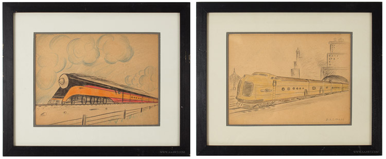 Vintage Pencil and Crayon Drawings of Trains, Deco Locomotives and Rail Cars, One Signed D.S. Littlell, pair view
