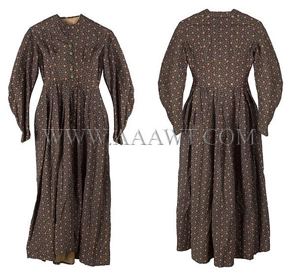 Antique Dress, Printed Wool Challis, 19th Century, front and rear view