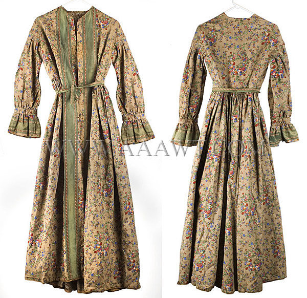 Antique Dress, Floral Printed, Wool Challis, 19th Century, front and rear views