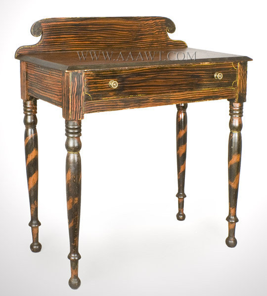 Paint Decorated Dressing Table, Classic State of Maine, Original Surface  Circa 1825 to 1840, angle view