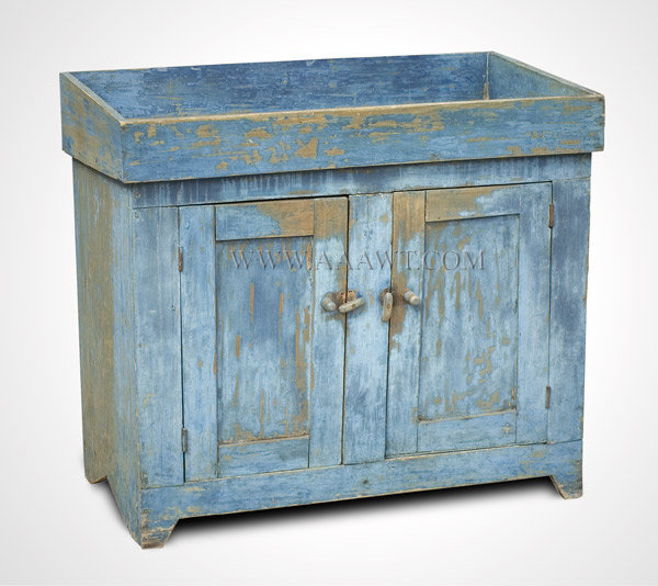 Dry Sink, Original Blue Paint, Paneled Doors New England 19th Century, entire view