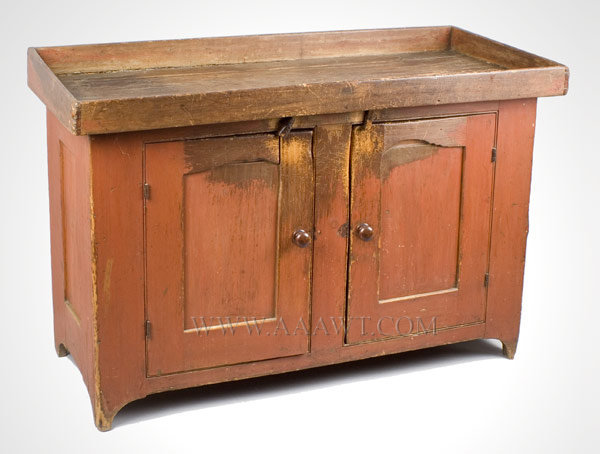 Dry Sink, Original Red Paint Mixed woods including pine and poplar Circa 1840 to 1860, entire view