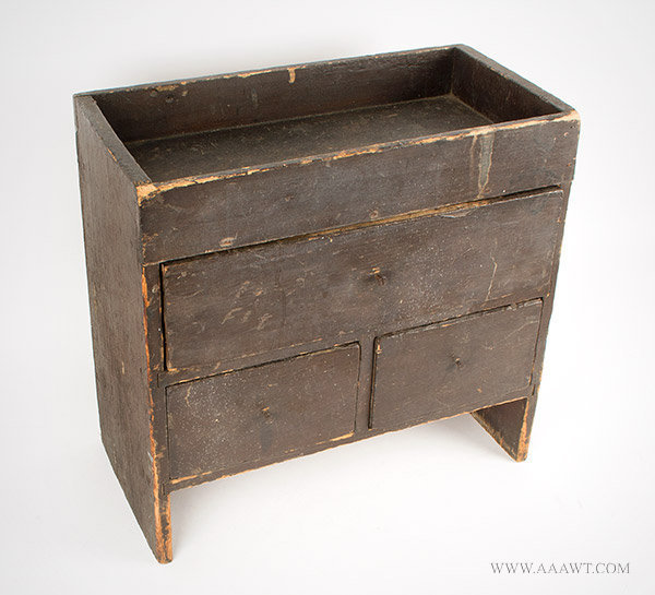 Child's Size Dry Sink in Old Brown Paint, First Half 19th Century, angle view
