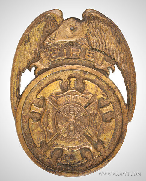 Antique Fire Department Car Grill Badge, Vintage, entire view