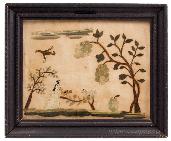 Antique Embroidery, Girl with Birds, Silk on Paper, 18th or 19th Century, entire view