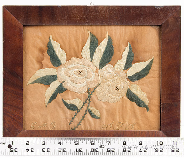 Antique Embroidery of Roses, with ruler for scale