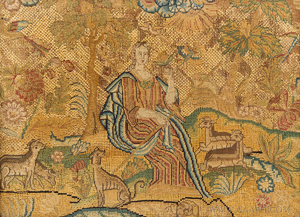 Antique Silk Embroidery on Linen of Shepherdess Seated in Landscape, English, Circa 1740, close up view