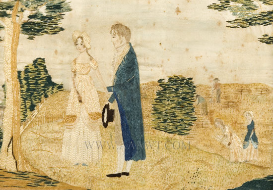 Embroidered Picture Anonymous Circa 1800 Silk on silk with watercolor