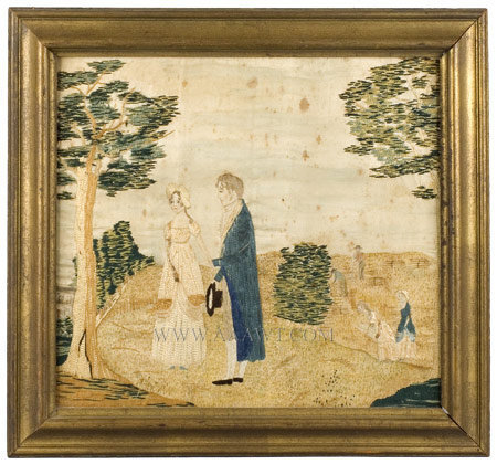 Antique Embroidered Picture, Silk on silk with watercolor, entire view