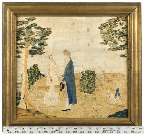 Antique Embroidered Picture, Silk on silk with watercolor, with ruler for scale