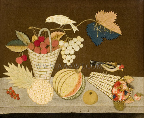 Antique Still Life, Applique and Embroidery, close up view