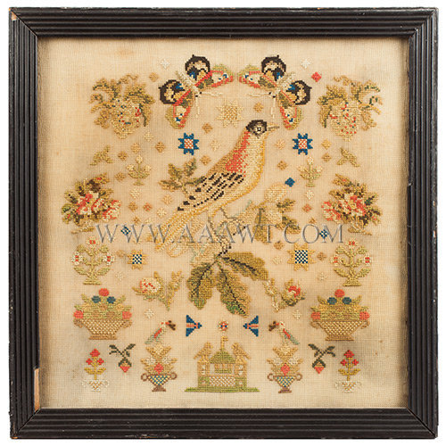 Antique Bird Embroidery, American, Mid 19th Century, entire view