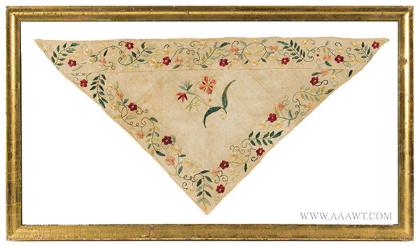 Antique 18th Century Embroidered Kerchief Framed for Display, entire view