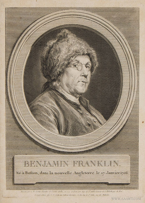 Antique Benjamin Franklin Engraving by Augustin de Saint Aubin, 1777, close up view
