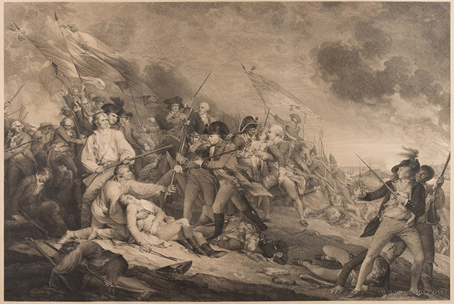 Antique Engraving of the Death of General Warren at Bunker's Hill, After John Trumbull, Circa 1850, close up view