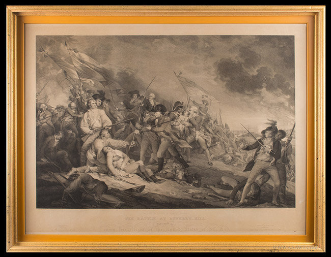 Antique Engraving of the Death of General Warren at Bunker's Hill, After John Trumbull, Circa 1850, entire view