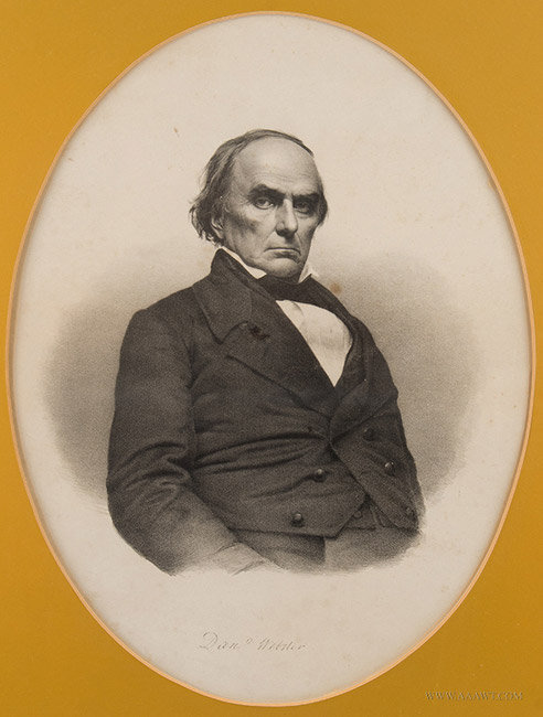 Antique Engraving of Daniel Webster, After John Adams Whipple, Circa 1850 to 1890, close up view