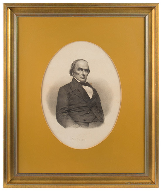Antique Engraving of Daniel Webster, After John Adams Whipple, Circa 1850 to 1890, entire view