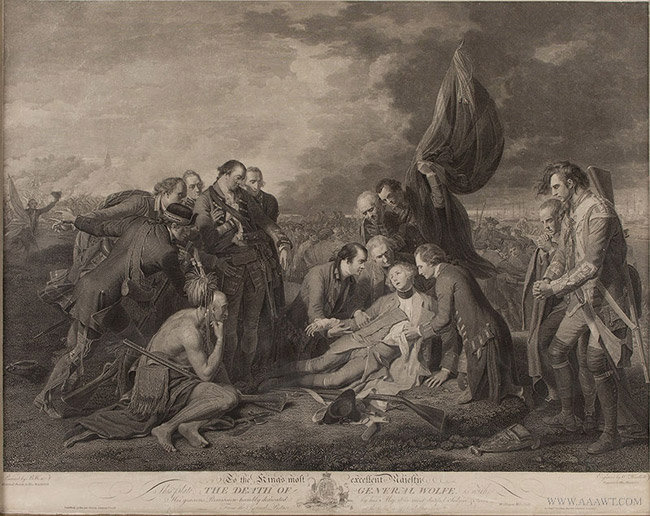 Antique Engraving of the Death of Wolfe, by William Woollet, 1776, close up view